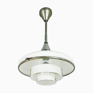 Lámpara colgante pequeña de vidrio opalino y cromado de Otto Müller para Sistrah Licht GmbH, años 20