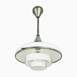 Small Chrome Plated and Opaline Glass Pendant Lamp by Otto Müller for Sistrah Licht GmbH, 1920s