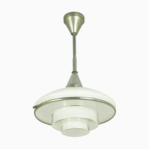Chrome Plated and Opaline Glass Pendant Lamp by Otto Müller for Sistrah Licht GmbH, 1930s