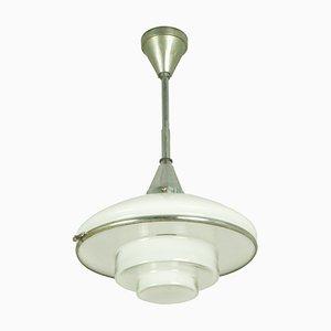 Lámpara colgante cromada y vidrio opalino plateado de Otto Müller para Sistrah Licht GmbH, años 30