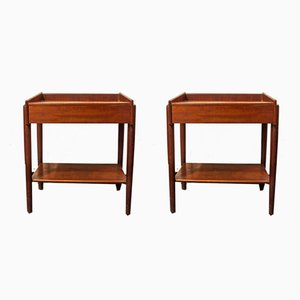 Vintage Italian Wooden Nightstands, 1950s, Set of 2