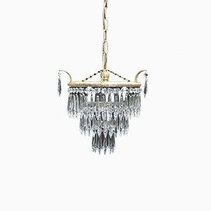 Art Deco Italian Crystal Glass Chandelier, 1930s