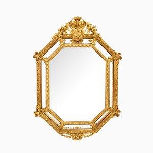 Antiker achteckiger Spiegel mit goldenem Rahmen