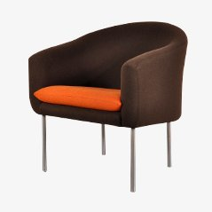 Easy Chair with Brown and Orange Wool Upholstery by Kho Liang le for Artifort, 1960s