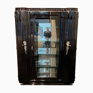 Art Deco French Black Lacquer, Nickel, and Glass Credenza, 1930s