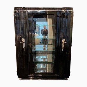 Credenza Art Deco in vetro laccato nero, nichel e vetro, Francia, anni '30