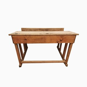 Antique Italian Solid Oak School Bench, 1890s