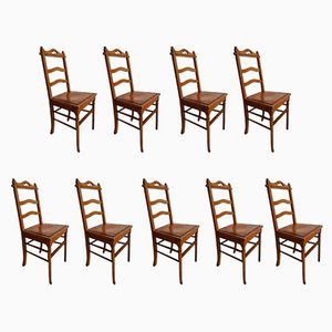 Antique French Bistro Chairs, Set of 9
