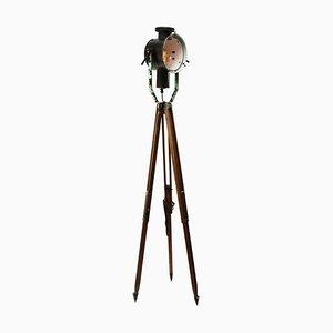 Mid-Century Black Enamel Spotlight Tripod Floor Lamp