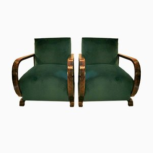 Art Deco Austrian Walnut and Green Velvet Lounge Chairs, 1920s, Set of 2