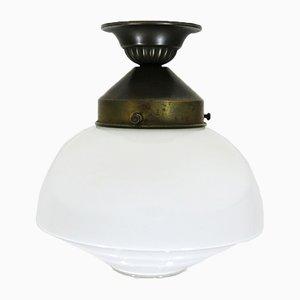 Vintage Bauhaus Deckenlampe aus Opalglas & Messing