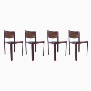 Esszimmerstühle aus Leder von Tito Agnoli für Matteo Grassi, 1980er, 4er Set