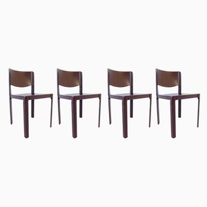 Leather Dining Chairs by Tito Agnoli for Matteo Grassi, 1980s, Set of 4