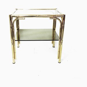 Faux Bamboo Brass Side Table, 1970s