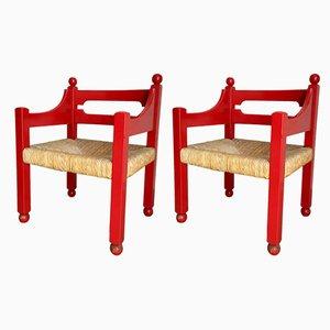 Rote Beistellstühle, 1960er, 2er Set