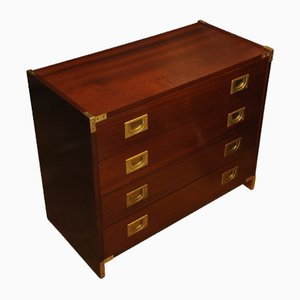 Mahogany and Brass Military Campaign Dresser, 1960s