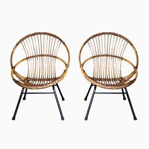 Mid-Century Wicker Chair, 1950s, Set of 2