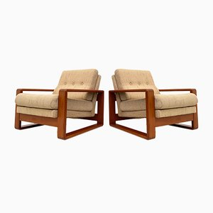 Danish Solid Teak Lounge Chairs, 1960s, Set of 2