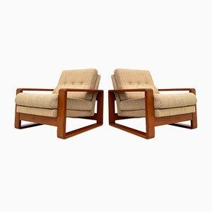 Danish Solid Teak Lounge Chairs, 1960s, Set of 2