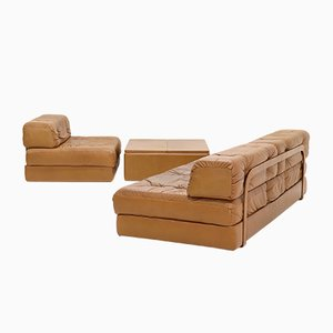 Cognac Leather Modular Living Room Set by Karl Wittmann for Wittmann, 1970s