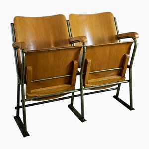 Panca da teatro a due posti vintage, anni '50