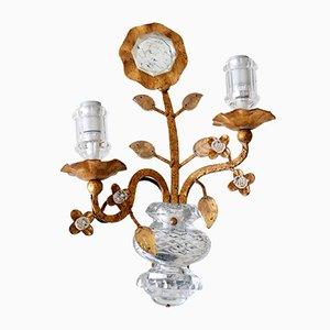 Apliques franceses de cristal y metal dorado de Maison Baguès, años 60. Juego de 2