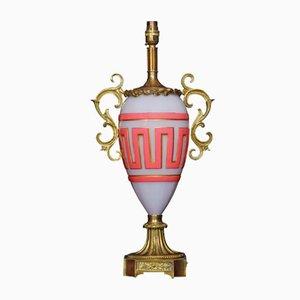 Lámpara de mesa francesa antigua de vidrio y latón dorado