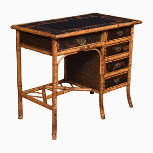 Antique Black Lacquered Bamboo Desk