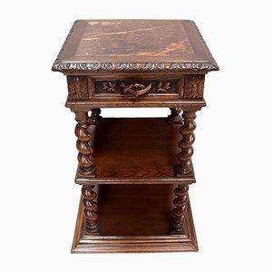 Petite Table d'Appoint d'Époque Style Louis XIII en Chêne Clair, années 1900