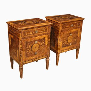 Vintage Louis XVI Style Italian Inlaid Rosewood Nightstands, 1960s, Set of 2