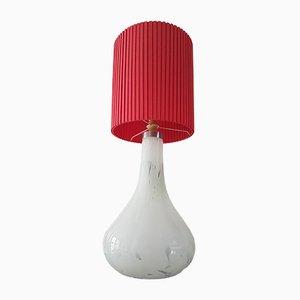 Grande Lampe de Bureau Vintage en Verre de Murano Blanc