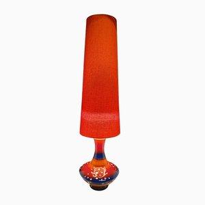 Lampadaire Plat Orange et Bleu en Céramique, années 60