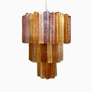 Large Murano Glass Tube Chandelier by Paolo Venini, 1970s
