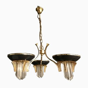 Art Deco Style Brass Murano Glass Prisms Chandelier, 1970s