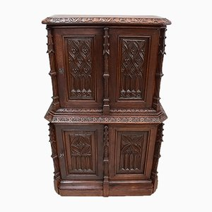 Small Antique Gothic Style Oak Cabinet