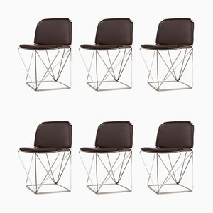 Vintage Esszimmerstühle mit Drahtgestellen & braunen Sitzflächen, 1960er, 6er Set