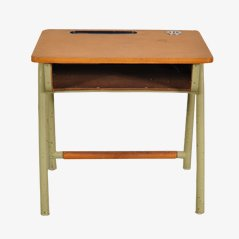 Mid Century Children School Desk On Green Metal Base With Wooden Top