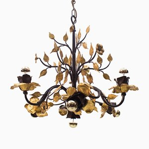 Large French Gilded Wrought Iron Ceiling Lamp, 1970s