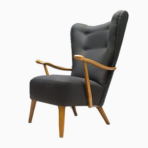 Large Anthracite Wingback Armchair, 1950s