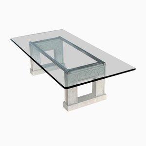 Mesa de centro rectangular de cristal tallado y base de piedra con marco de acero de Cupioli