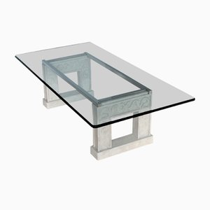 Rectangular Crystal Glass Top and Carved Stone Base Coffee Table with a Steel Frame from Cupioli