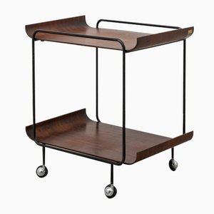Mid-Century Black Varnished Iron and Rosewood Serving Cart from Creazioni Stilcasa, 1960s