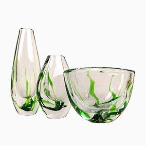 Schwedisches Mid-Century Vasen & Schale Set aus Kristallglas von Vicke Lindstrand für Kosta, 1950er