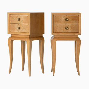 Art Deco Sycamore and Brass Nightstands by Suzanne Guiguichon, 1940s, Set of 2