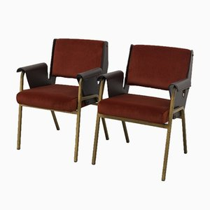Velvet and Leather Model Albenga Armchairs by Gustavo Pulitzer for Arflex, 1950s, Set of 2