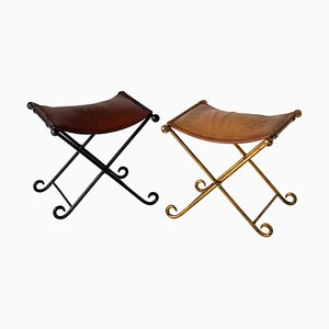 Vintage French Wrought Iron and Leather Folding Stools, Set of 2