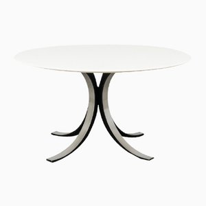 Mid-Century White Round Model T69 Dining Table by Osvaldo Borsani and Eugenio Gerli for Tecno, 1960s