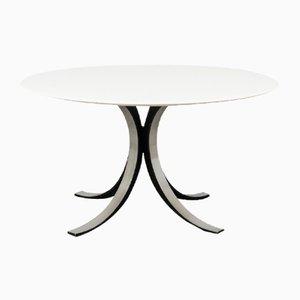 Table de Salle à Manger Ronde Modèle T69 Mid-Century Blanche par Osvaldo Borsani et Eugenio Gerli pour Tecno, années 60