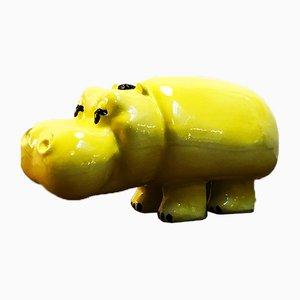 Italienische Vintage Happy Hippo Werbefigur aus Keramik von Nova Ceramiche für Lines, 1990er