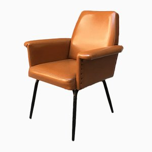 Mid-Century Italian Sky and Black Enameled Metal Lounge Chair, 1960s